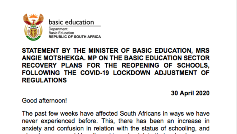 3RD COVID STATEMENT BY MINISTER OF BASIC EDUCATION